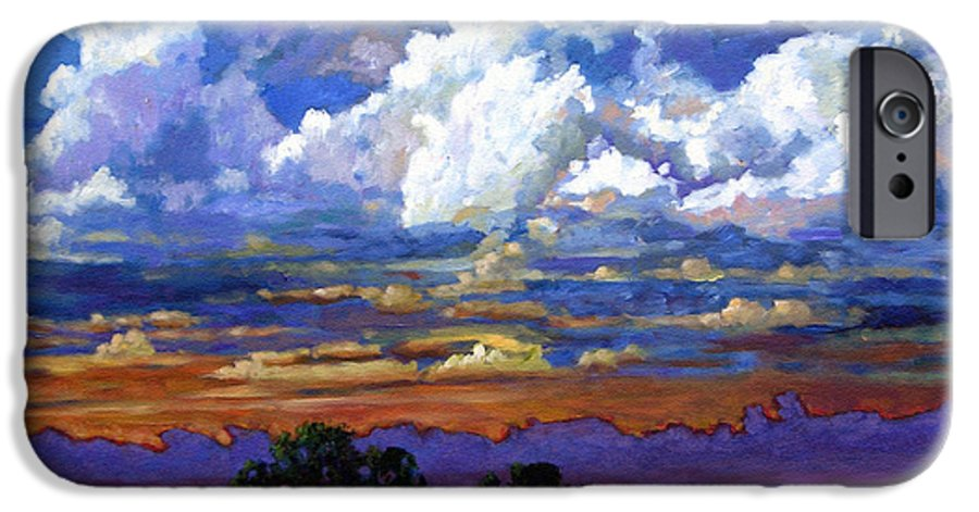 Landscape IPhone 6 Case featuring the painting Evening Clouds Over The Prairie by John Lautermilch