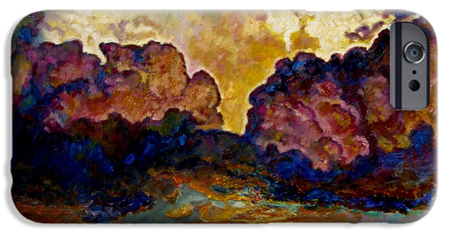 Sunset IPhone 6 Case featuring the painting Evening Clouds Over The Valley by John Lautermilch