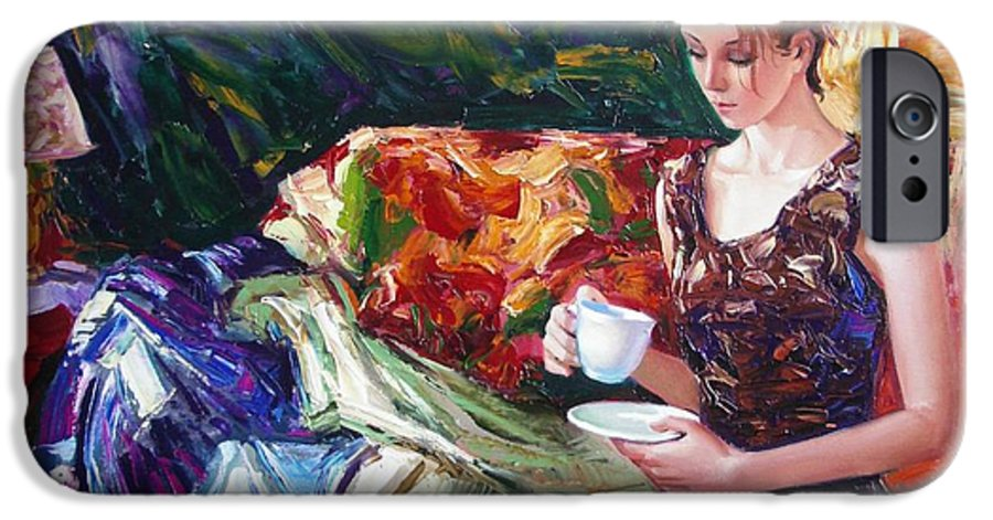 Figurative IPhone 6 Case featuring the painting Evening Coffee by Sergey Ignatenko