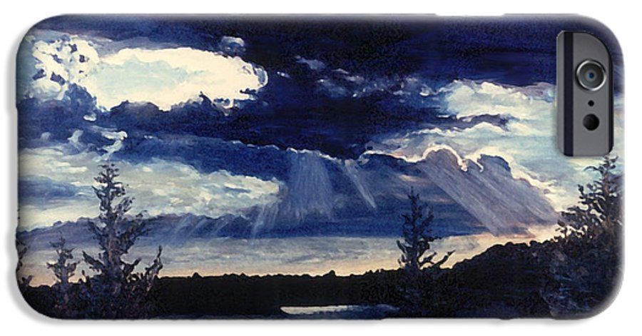 Landscape IPhone 6 Case featuring the painting Evening Lake by Steve Karol