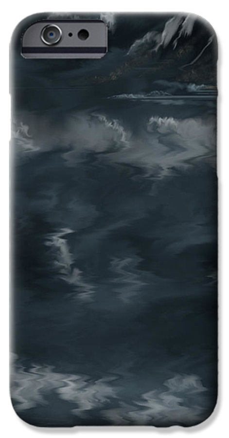 Seascape IPhone 6 Case featuring the painting Evening Lights And Rocks by Anne Norskog