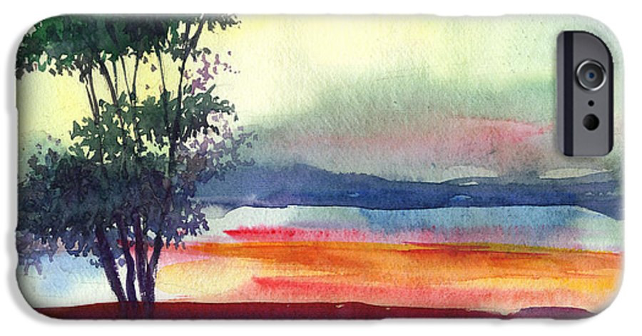 Water Color IPhone 6 Case featuring the painting Evening Lights by Anil Nene