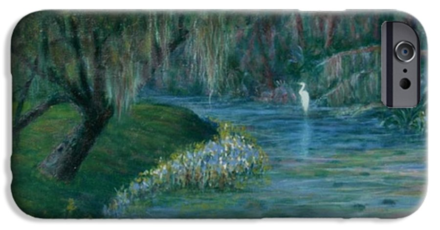 Low Country; Egrets; Lily Pads IPhone 6 Case featuring the painting Evening Shadows by Ben Kiger