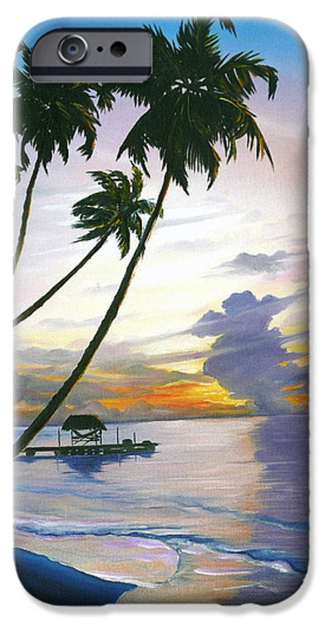Ocean Painting Seascape Painting Beach Painting Sunset Painting Tropical Painting Tropical Painting Palm Tree Painting Tobago Painting Caribbean Painting Original Oil Of The Sun Setting Over Pigeon Point Tobago IPhone 6 Case featuring the painting Eventide Tobago by Karin Dawn Kelshall- Best