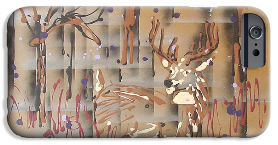 Buck In Tree Line IPhone 6 Case featuring the painting Everwatchful by J R Seymour