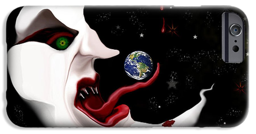 Moon IPhone 6 Case featuring the digital art Evil Moon by Ruben Flanagan