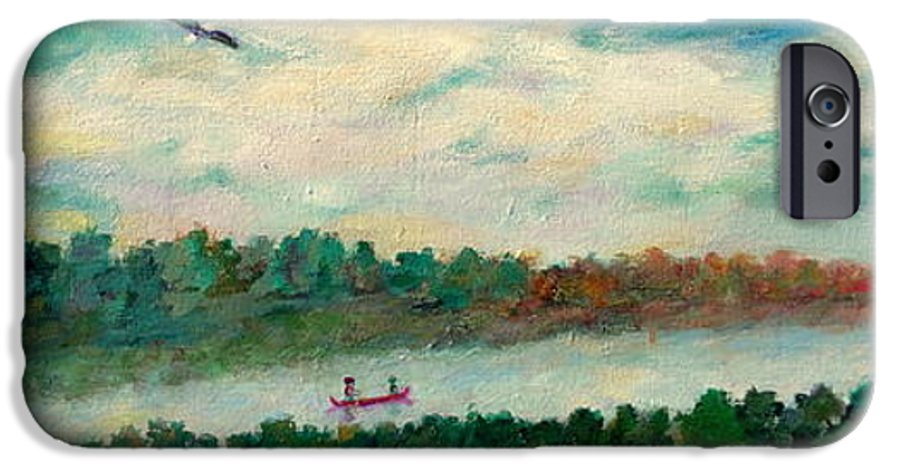 Canoeing On The Big Canadian Lakes IPhone 6 Case featuring the painting Exploring Our Lake by Naomi Gerrard
