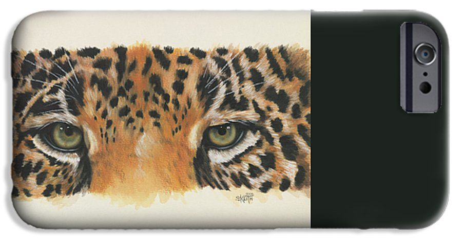Big Cat IPhone 6 Case featuring the painting Eye-catching Jaguar by Barbara Keith