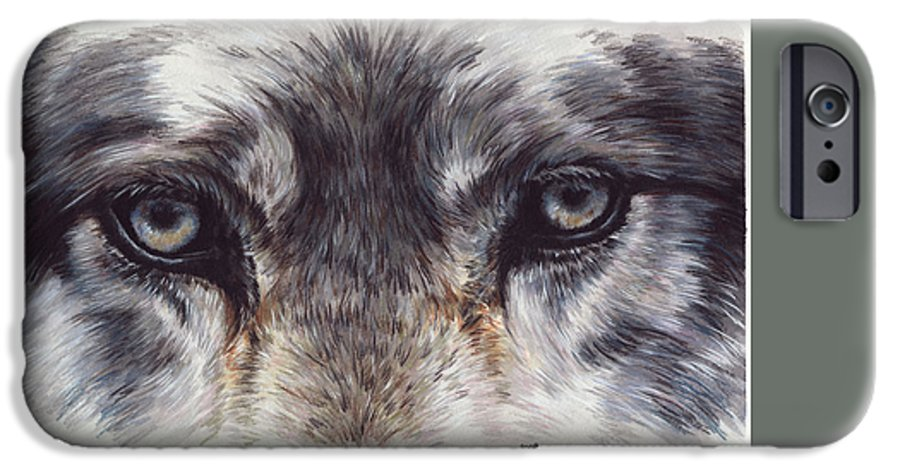 Wolf IPhone 6 Case featuring the painting Eye-catching Wolf by Barbara Keith
