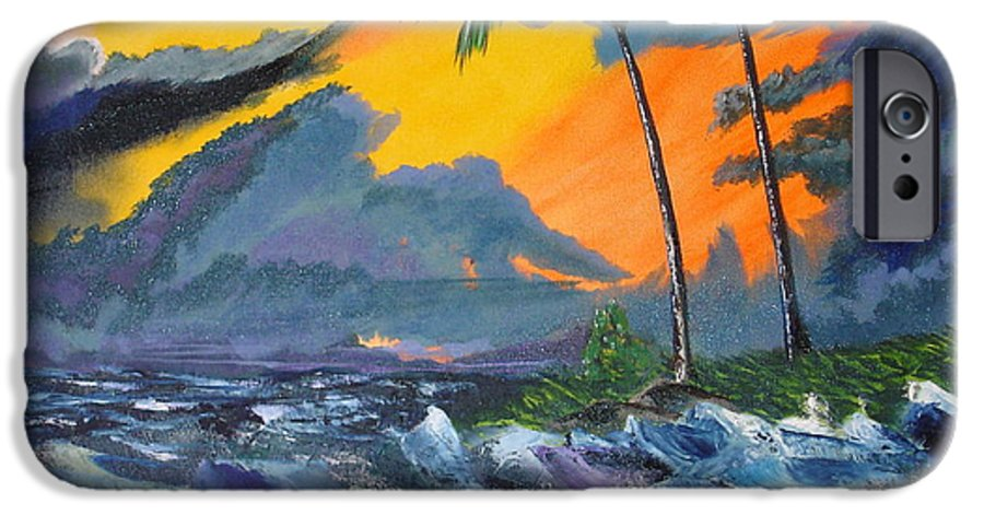 Knifework IPhone 6 Case featuring the painting Eye Of The Storm by Susan Kubes