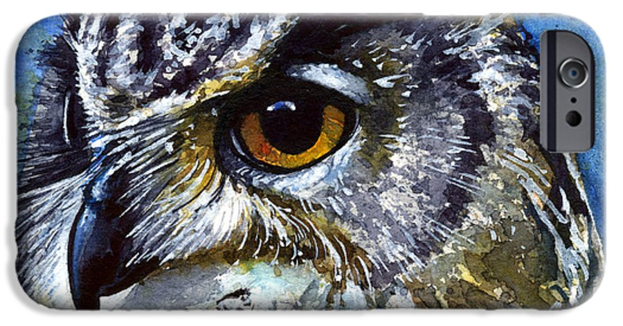 Owls IPhone 6 Case featuring the painting Eyes Of Owls No.25 by John D Benson