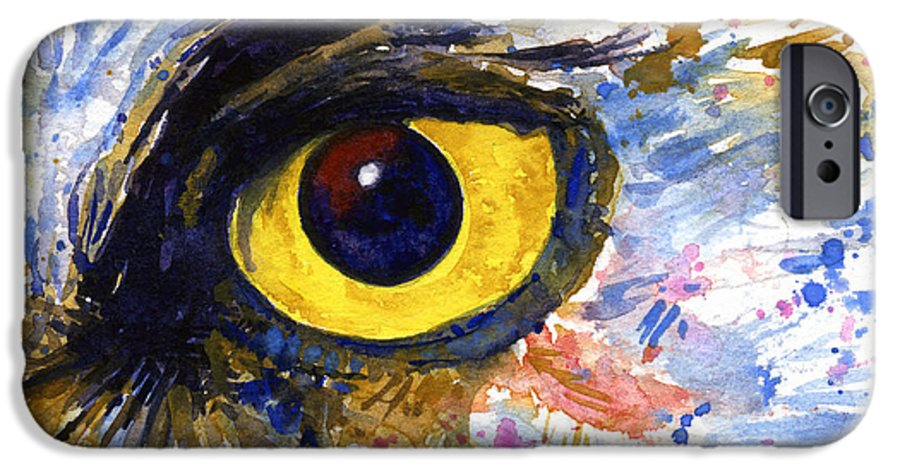 Owls IPhone 6 Case featuring the painting Eyes Of Owl's No.6 by John D Benson