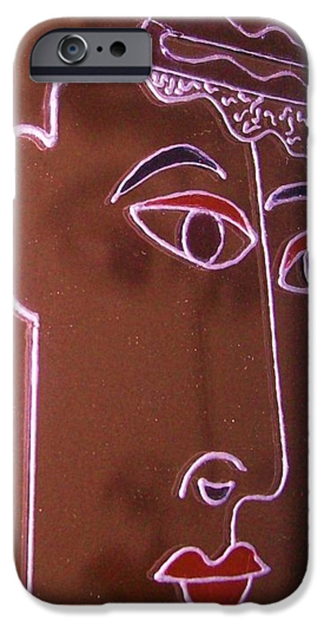 Faces IPhone 6 Case featuring the painting Faces And Alphabets by Sylvia Hanna Dahdal