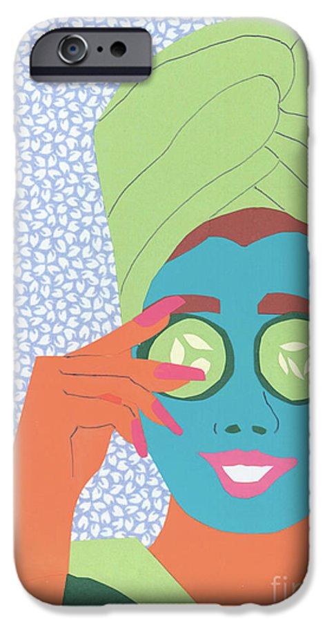 Face IPhone 6 Case featuring the mixed media Facial Masque by Debra Bretton Robinson
