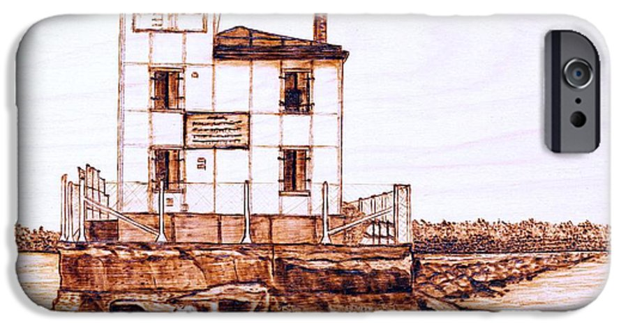 Lighthouse IPhone 6 Case featuring the pyrography Fair Port Harbor by Danette Smith