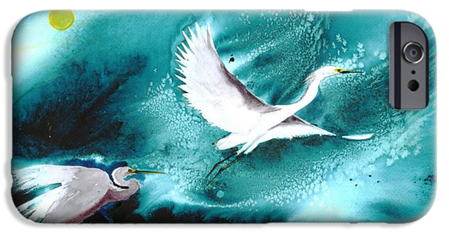 A Pair Of Egrets By The Water At Night- A Watercolor Painting IPhone 6 Case featuring the painting Fairies by Mui-Joo Wee