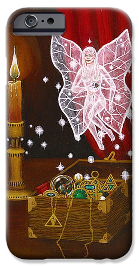 Fairy IPhone 6 Case featuring the painting Fairy Treasure by Roz Eve