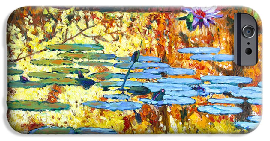 Fall IPhone 6 Case featuring the painting Fall Colors On The Lily Pond by John Lautermilch