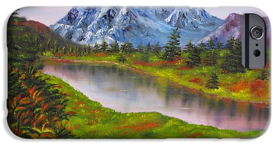 Fall IPhone 6 Case featuring the painting Fall In Mountains Landscape Oil Painting by Natalja Picugina