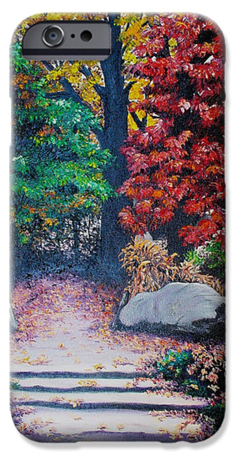 A N Original Painting Of An Autumn Scene In The Gateneau In Quebec IPhone 6 Case featuring the painting Fall In Quebec Canada by Karin Dawn Kelshall- Best