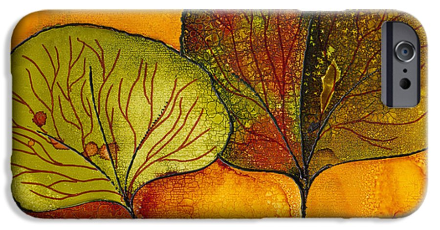 Leaf IPhone 6 Case featuring the painting Fall Leaves by Susan Kubes