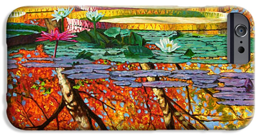 Garden Pond IPhone 6 Case featuring the painting Fall Reflections 2 by John Lautermilch