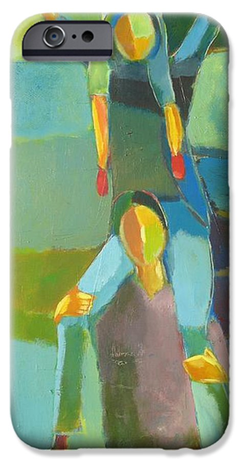 Abstract IPhone 6 Case featuring the painting Family Joy by Habib Ayat