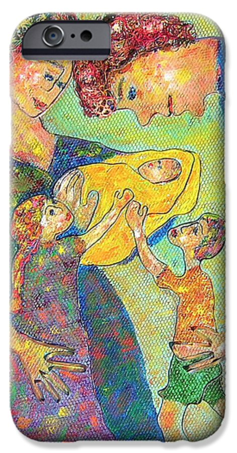 Family Enjoying Each Other IPhone 6 Case featuring the painting Family Matters by Naomi Gerrard