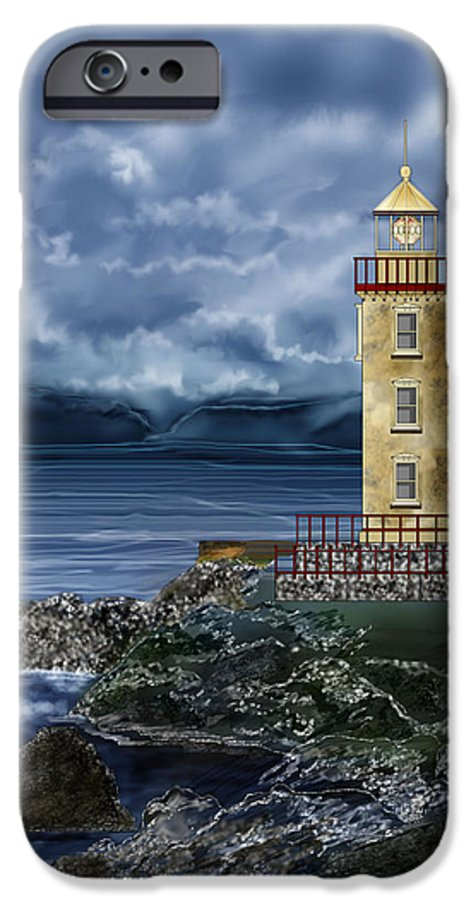 Lighthouse IPhone 6 Case featuring the painting Fanad Head Lighthouse Ireland by Anne Norskog