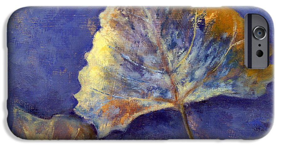 Leaves IPhone 6 Case featuring the painting Fanciful Leaves by Chris Neil Smith