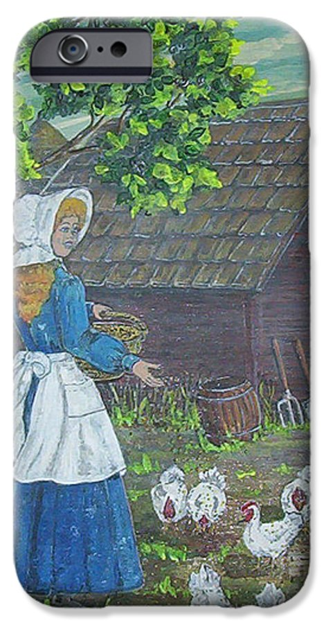 Barn IPhone 6 Case featuring the painting Farm Work I by Phyllis Mae Richardson Fisher