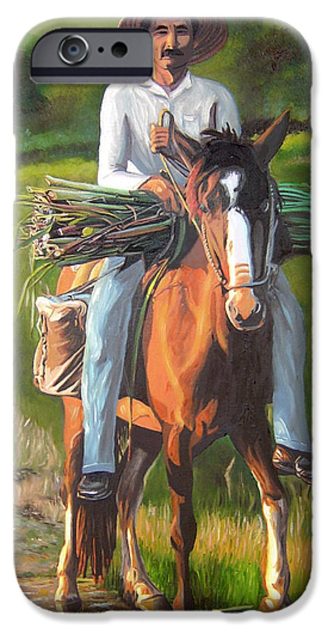 Cuban Art IPhone 6 Case featuring the painting Farmer On A Horse by Jose Manuel Abraham