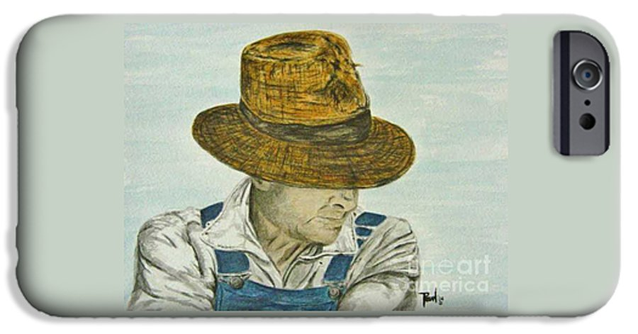 Portrait IPhone 6 Case featuring the painting Farmer Ted by Regan J Smith