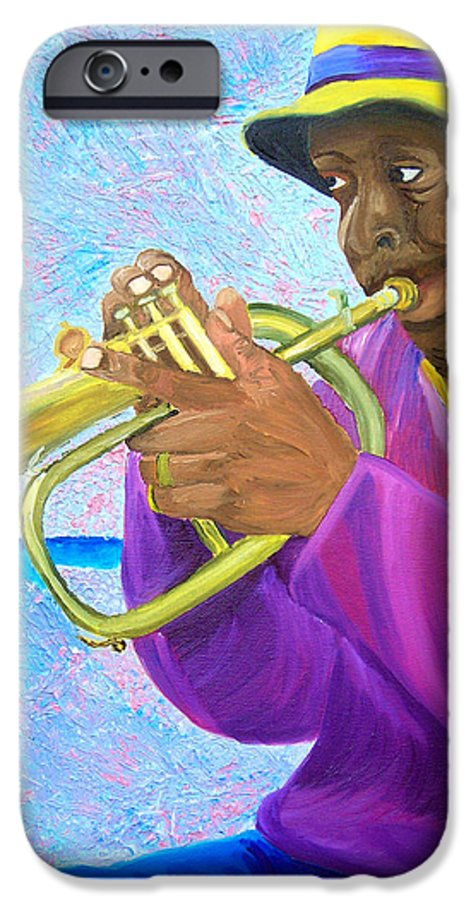 Street Musician IPhone 6 Case featuring the painting Fat Albert Plays The Trumpet by Michael Lee