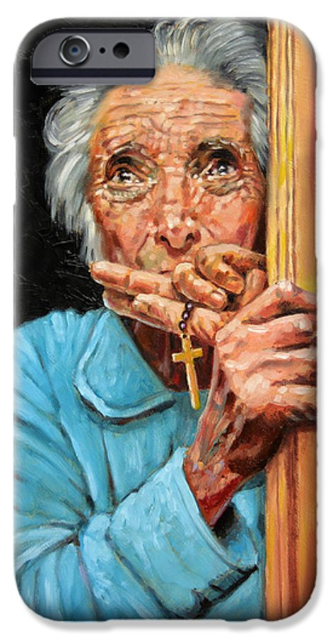 Old Woman IPhone 6 Case featuring the painting Fear And Faith by John Lautermilch