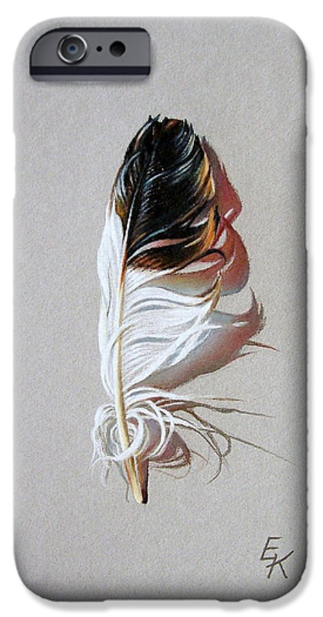 Still Life Feather IPhone 6 Case featuring the drawing Feather And Shadow 3 by Elena Kolotusha