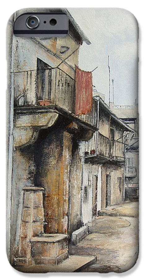 Fermoselle Zamora Spain Oil Painting City Scapes Urban Art IPhone 6 Case featuring the painting Fermoselle by Tomas Castano
