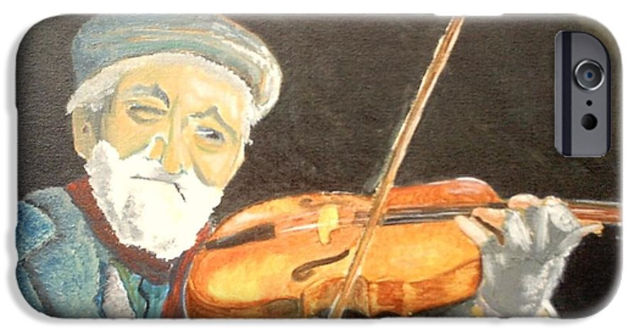 Hungry He Plays For His Supper IPhone 6 Case featuring the painting Fiddler Blue by J Bauer
