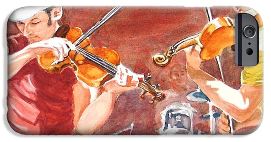 Musicians IPhone 6 Case featuring the painting Fiddles by Karen Ilari