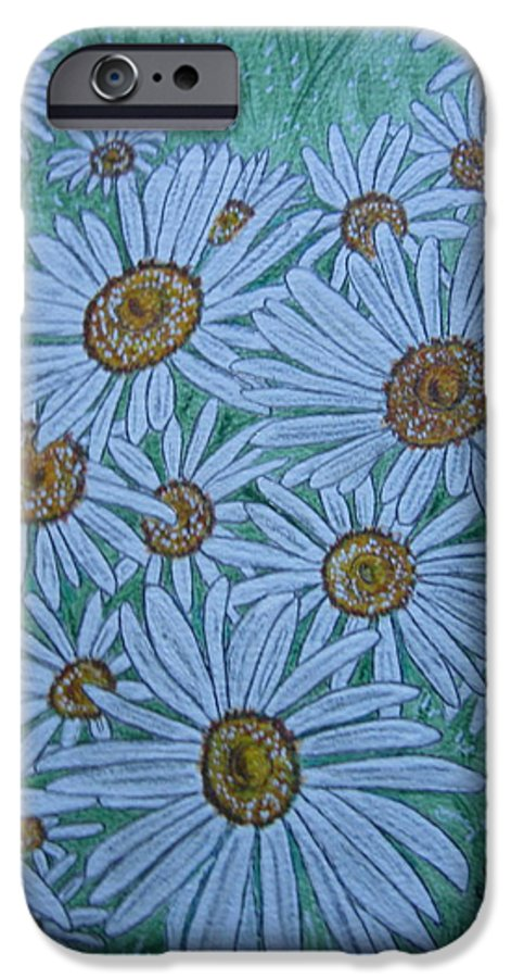 Field IPhone 6 Case featuring the painting Field Of Wild Daisies by Kathy Marrs Chandler