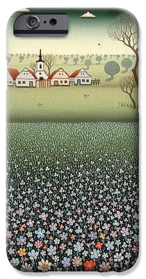 Landscape IPhone 6 Case featuring the painting Field Of Wildflowers by Ferenc Pataki