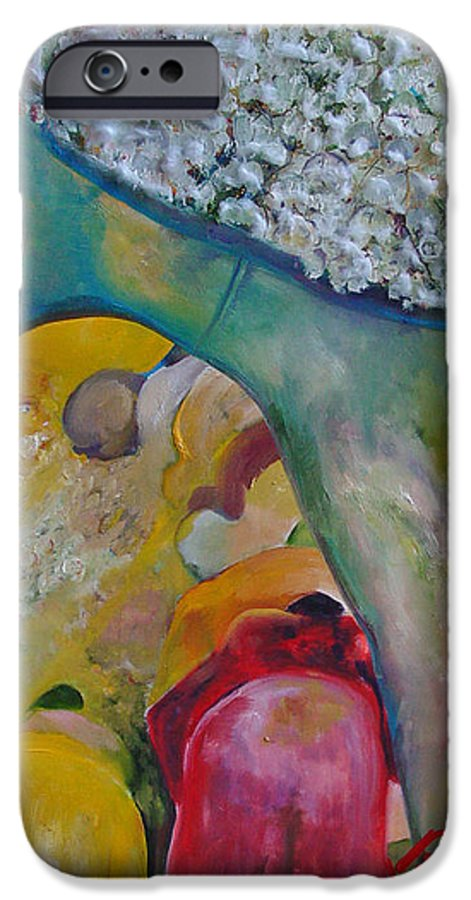 Cotton IPhone 6 Case featuring the painting Fields Of Cotton by Peggy Blood