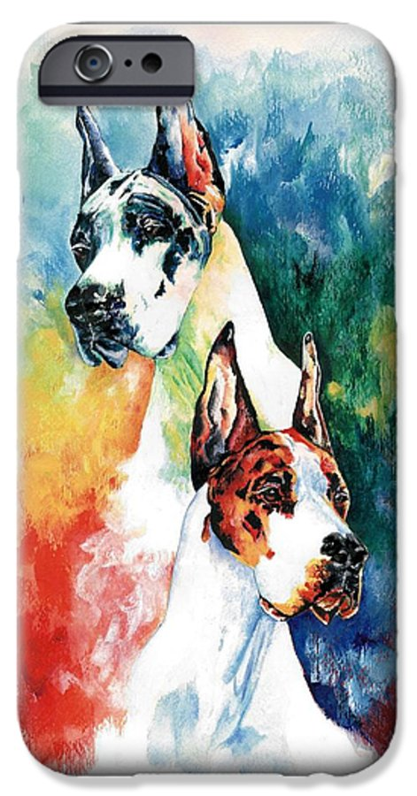 Great Dane IPhone 6 Case featuring the painting Fire And Ice by Kathleen Sepulveda