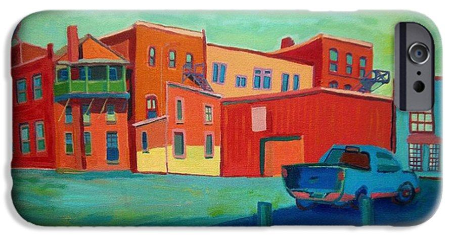 Cityscape IPhone 6 Case featuring the painting Fire Escapes In Burlington by Debra Bretton Robinson