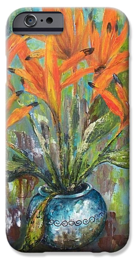 IPhone 6 Case featuring the painting Fire Flowers by Carol P Kingsley