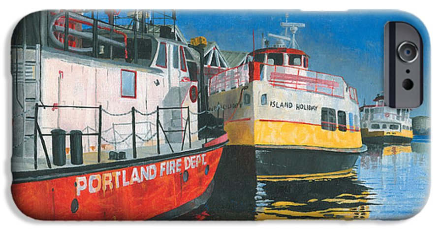 Fireboat IPhone 6 Case featuring the painting Fireboat And Ferries by Dominic White