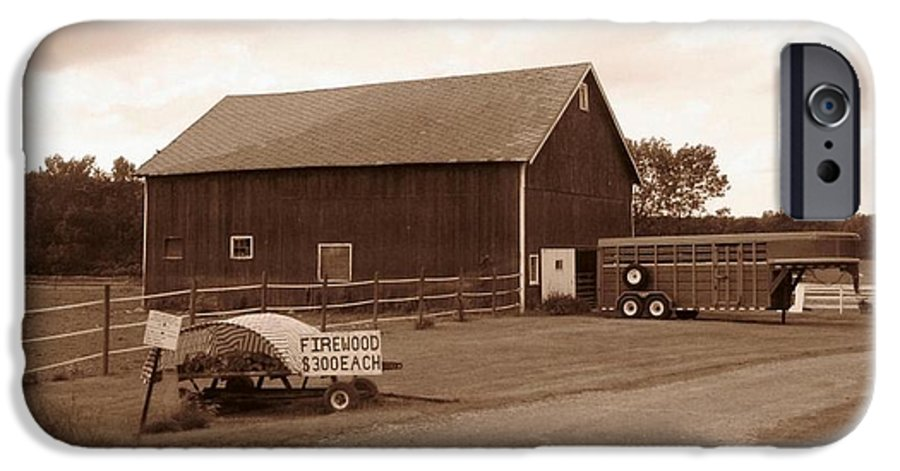 Barn IPhone 6 Case featuring the photograph Firewood For Sale by Rhonda Barrett