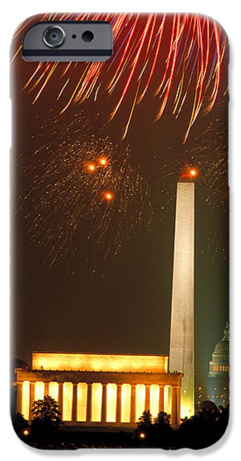 Illuminated IPhone 6 Case featuring the photograph Fireworks Over Washington Dc Mall by Carl Purcell