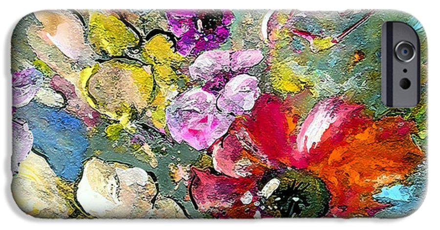 Nature Painting IPhone 6 Case featuring the painting First Flowers by Miki De Goodaboom