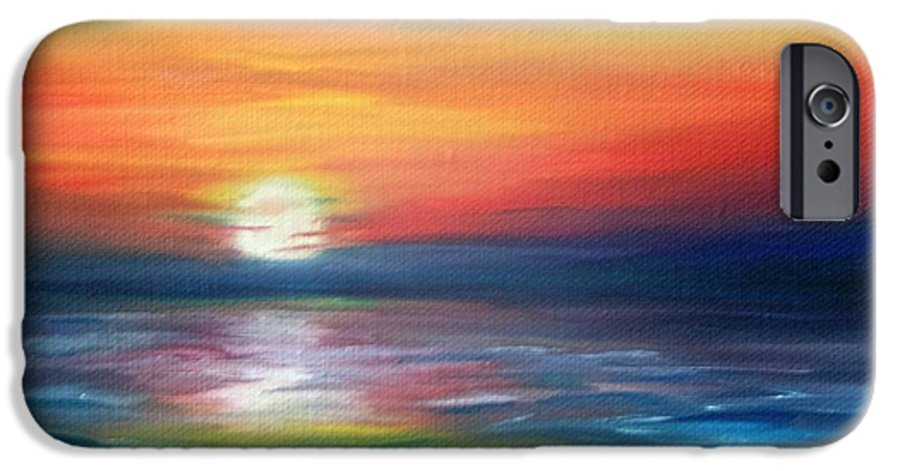 Sunrise IPhone 6 Case featuring the painting First Light by Lora Duguay